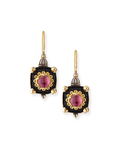 Pink Tourmaline Square Drop Earrings