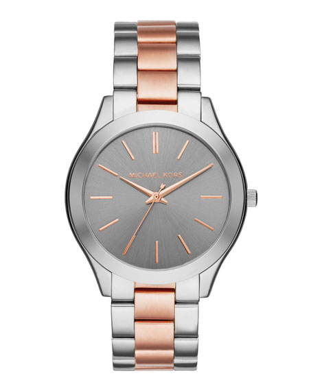 33mm Mini Slim Runway Bracelet Watch in Silvertone/Rose Golden