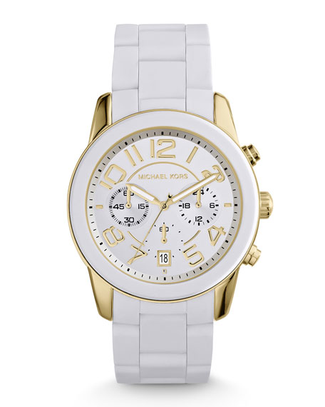 3b61977e4377 Mercer Golden Stainless Steel   White Silicone Chronograph Watch