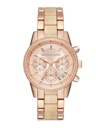 37mm Ritz Chronograph Bracelet Watch in Rose Golden/Champagne