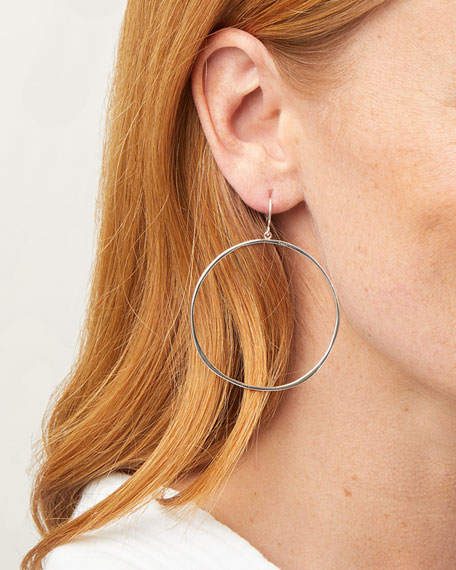 G Ring Hoop Drop Earrings, Silver