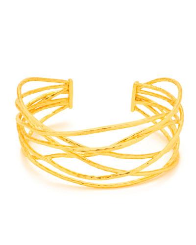 Lola Sculptural Cuff Bracelet, Gold