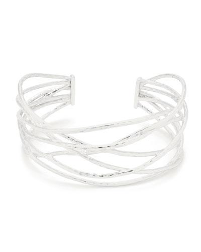 Lola Sculptural Cuff Bracelet, Silver