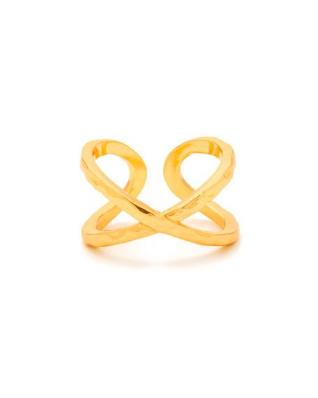 Elea Crisscross Ring, Gold, Size 6