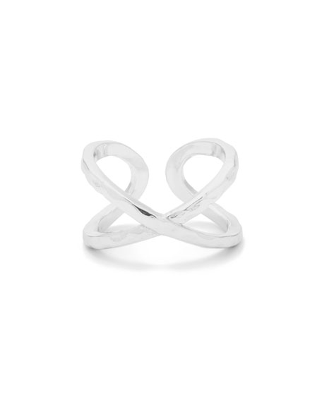 Elea Crisscross Ring, Silver, Size 6