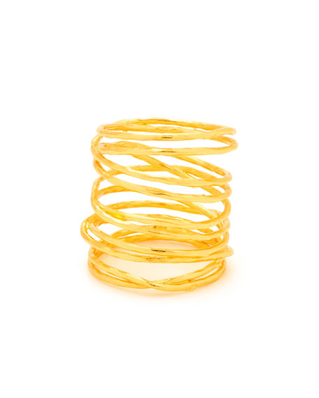 Lola Tall Multi-Band Ring, Gold, Size 7