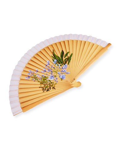 Small Floral Hand Fan, Bluebell
