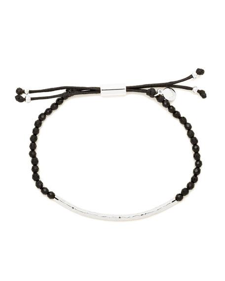 Power Gemstone Black Onyx Bracelet for Protection, Silver