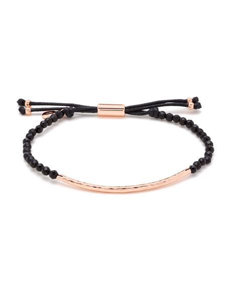 Power Gemstone Black Onyx Bracelet For Protection, Rose Gold, Black Onyx/ Rose Gold