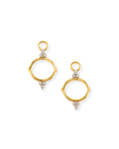 Open Moroccan Brushed Earring Charms with Diamonds