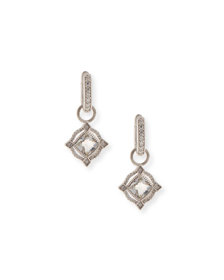 Lisse 18K Delicate Cushion Topaz Earring Charms with Diamonds