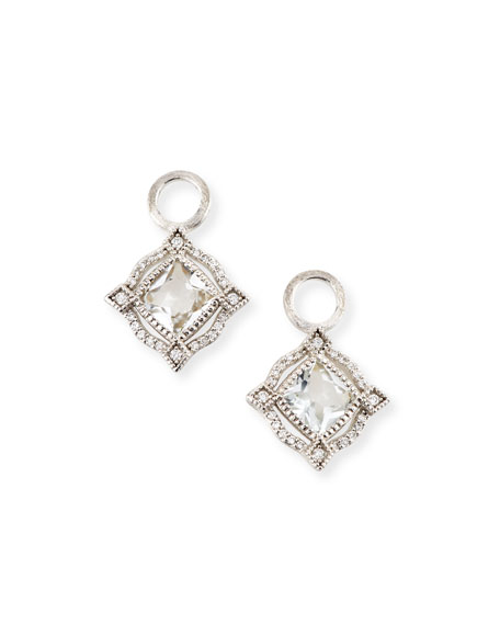Jude Frances Lisse 18K Delicate Cushion Topaz Earring Charms with Diamonds Llt5S