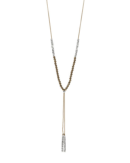 Power Gemstone Pyrite Necklace for Strength, Silver