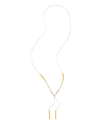 Power Gemstone Howlite Necklace for Calming, Gold