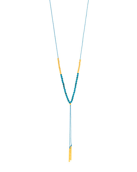 Power Gemstone Turquoise Necklace for Healing, Gold
