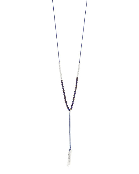 Power Gemstone Lapis Necklace for Wisdom, Silver
