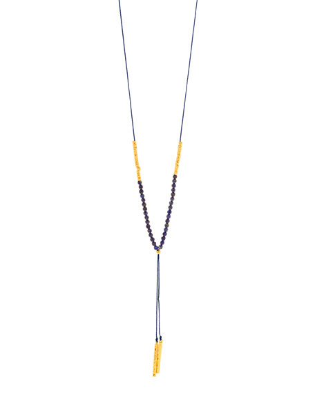 Power Gemstone Lapis Necklace for Wisdom, Gold