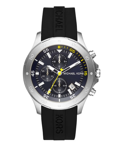 Men's 44mm Walsh Chronograph Watch, Black/Silvertone