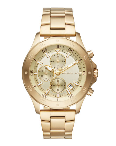 Men's 44mm Walsh Chronograph Bracelet Watch, Yellow Golden