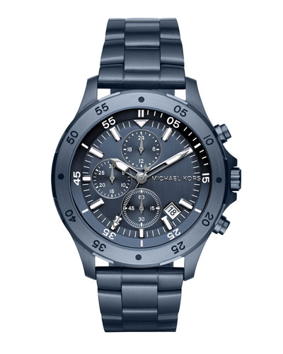 Men's 44mm Walsh Chronograph Watch, Brushed Navy