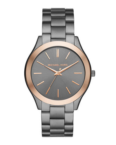 42mm Slim Runway Bracelet Watch in Gunmetal/Rose Golden