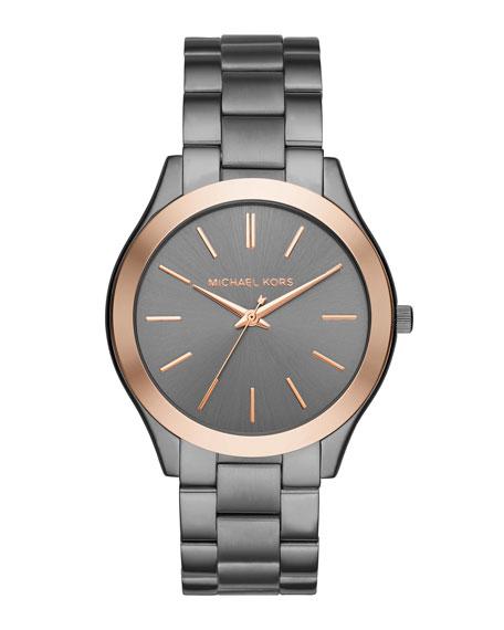 42mm Slim Runway Bracelet Watch in Gunmetal/Rose Golden