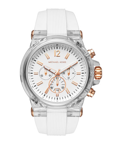 48mm Dylan Silicone Strap Chronograph Watch, White/Rose Golden