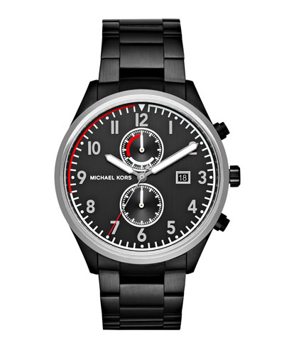 Men's 43mm Saunder Black IP Chronograph Watch