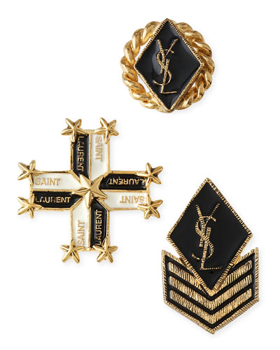 Military-Style Pins, Set of Three