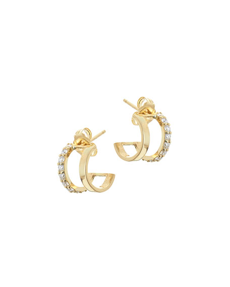 Flawless Huggie Hoop Earrings with Diamonds