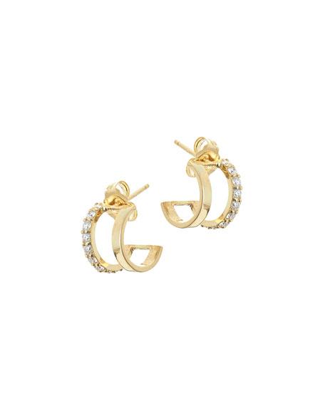 Flawless Huggie Hoop Earrings with Diamonds