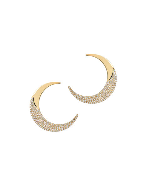 Small Flawless Crescent Earrings with Diamonds