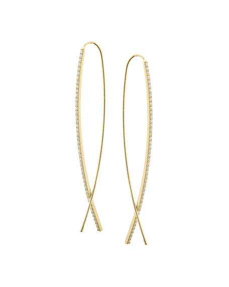 Small Flawless Narrow Upside Down Hoop Earrings with Diamonds