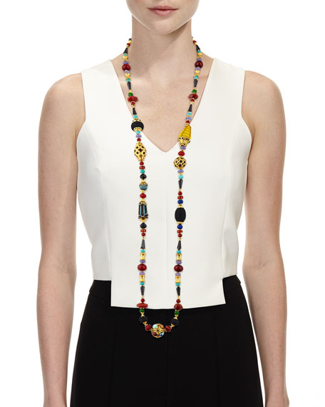 Long Beaded Single-Strand Necklace