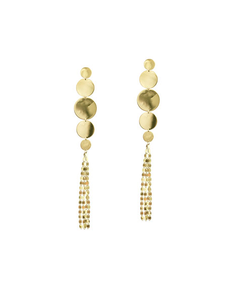 LANA Large Nude Disc Fringe Earrings