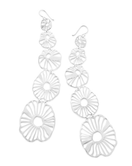 925 Classico Long Wavy Floral Earrings