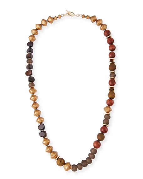 Akola Long Glass Metallic Necklace