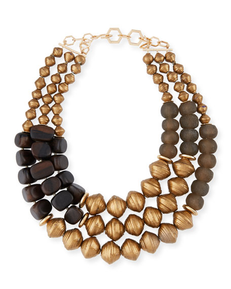 Viktoria Hayman Triple-Strand Tiger Wood-Link Necklace qNLzgTi