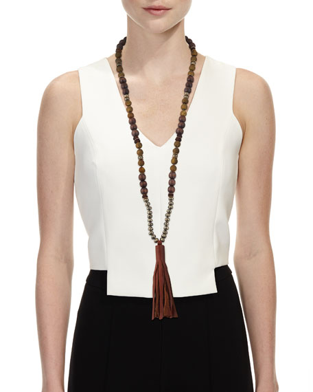 Beaded Pyrite & Wood Tassel Necklace
