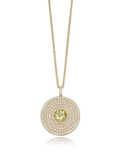 Fantasy Diamond & Lemon Quartz Disc Necklace