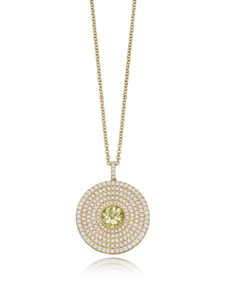 Fantasy Diamond & Lemon Quartz Disc Necklace