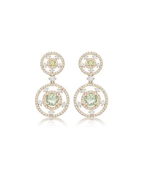 Apollo Diamond & Green Amethyst Round Drop Earrings
