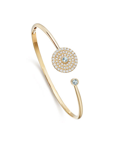 Fantasy Diamond & Blue Topaz Disc Bangle