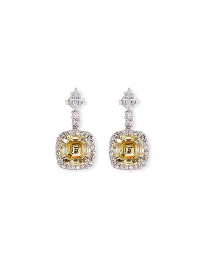 Asscher-Cut Canary CZ Drop Earrings
