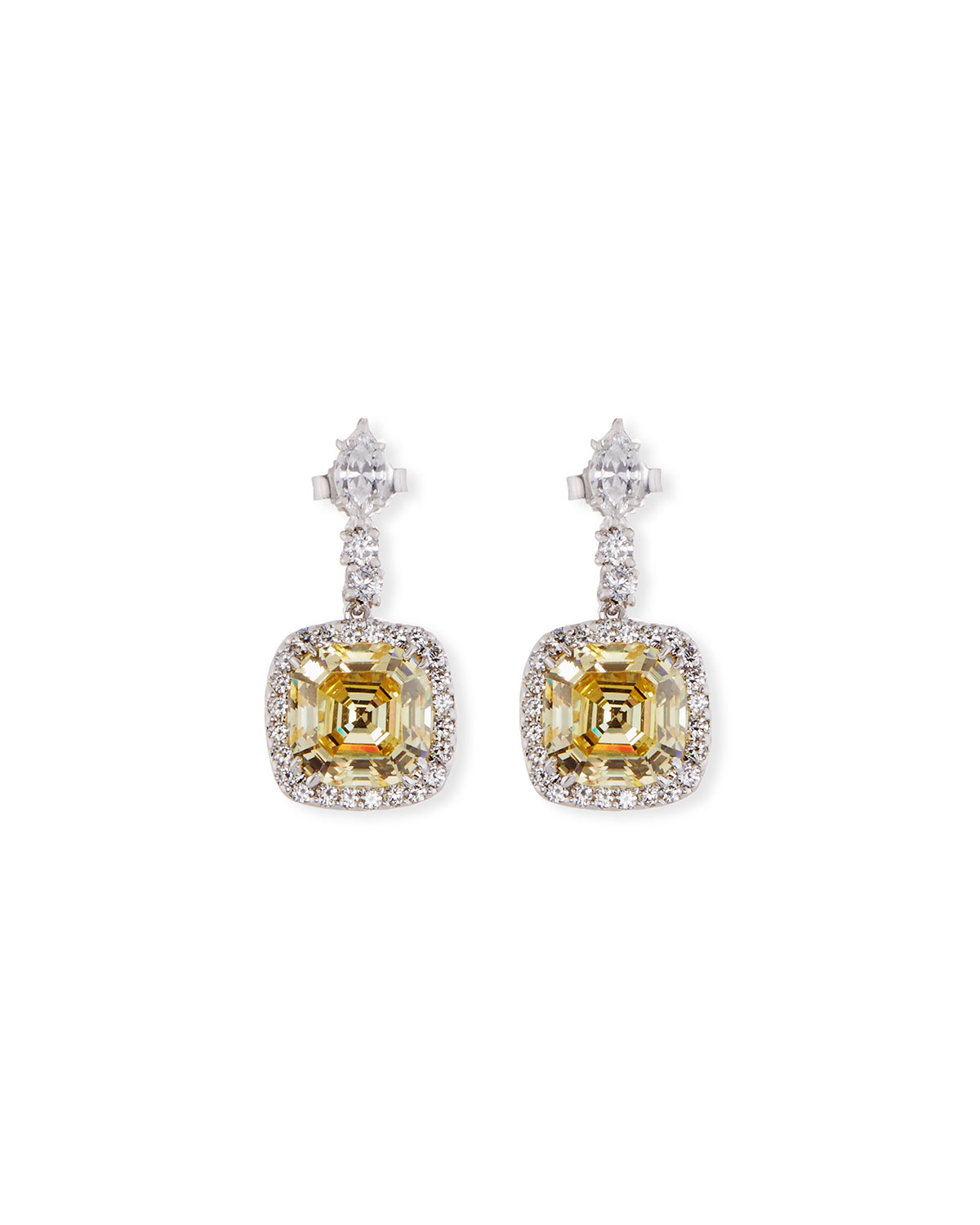 Fantasia Asscher-Cut Canary CZ Drop Earrings eSrY0