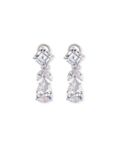 Mixed-Cut CZ Short Drop Earrings