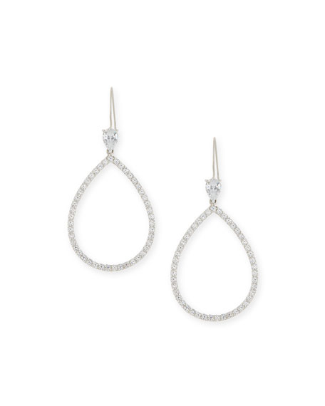 Fantasia by DeSerio Open CZ Crystal Teardrop Earrings