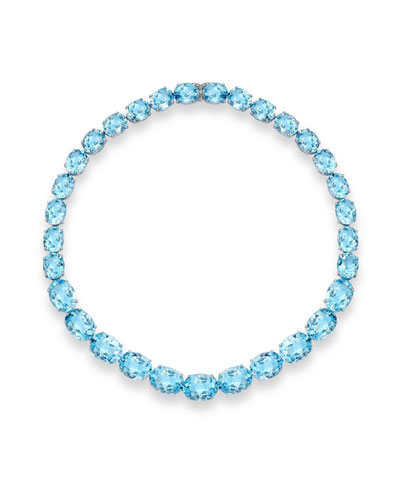 Special Addition Collection Blue Topaz Necklace in 18K White Gold