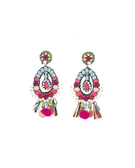 Beaded Charm Clip-On Earrings