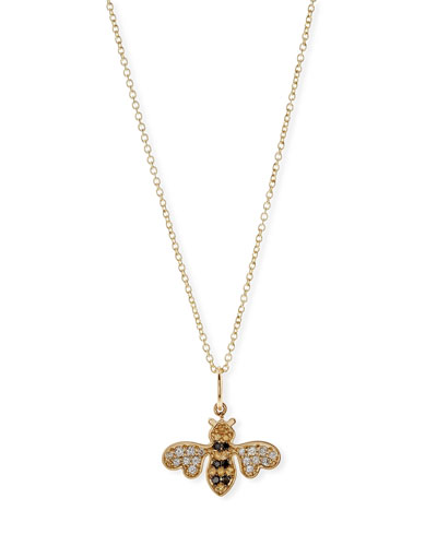 Anniversary Bee Pendant Necklace with Diamonds